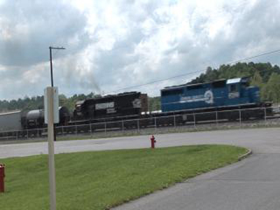 Train tracks run through the backyard of Modine Manufacturing Co. in Buena Vista. Erin Wilson, who is in charge of distribution, says it would take a lot of money to bring the rail up to date for the company to use. (BECKY BRATU/The Rockbridge Report)